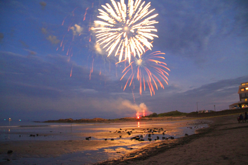 Fireworks display on beach