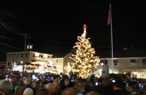 Tree lighting ceremony at dock square during Christmas Prelude in Kennebunkport, Maine